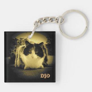 Keyhole Calico Cat Double-Sided Square Acrylic Key Ring