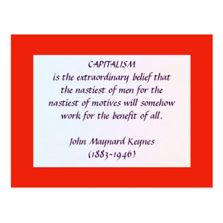 KEYNES on CAPITALISM postcard