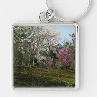 Keyring-Blossoms Silver-Colored Square Key Ring