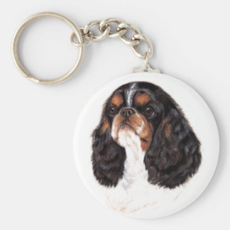 Keyring : English Toy ( king charles) spaniel Basic Round Button Key Ring