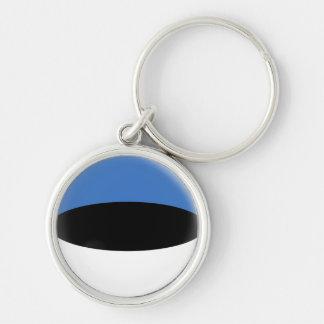 Keyring Estonia Estaonian flag Silver-Colored Round Key Ring