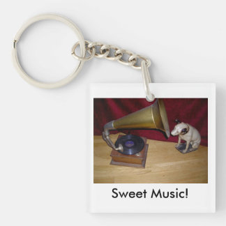 Keyring:  His Master's Voice Single-Sided Square Acrylic Key Ring