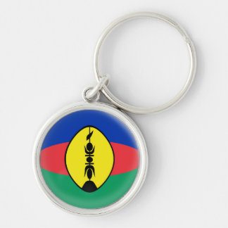 Keyring New Caledonia New Caledonian flag Silver-Colored Round Key Ring