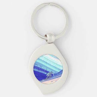 Keyring, Ocean Surfer Silver-Colored Swirl Key Ring