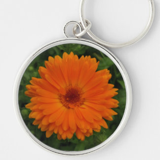 Keyring-Orange Flower Silver-Colored Round Key Ring