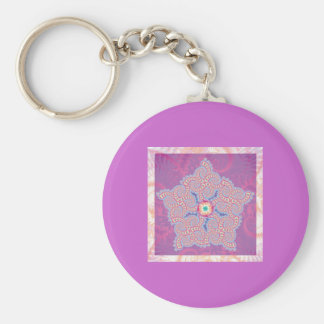 Keyring - Purple Star Fractal Pattern