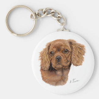 Keyring Ruby Cavalier king charles spaniel puppy Keychain