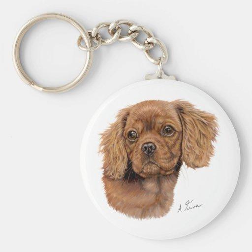 Keyring : Ruby Cavalier king charles spaniel puppy Keychain