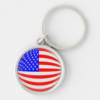 Keyring USA American flag Silver-Colored Round Key Ring