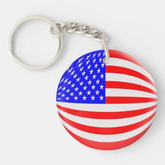 Keyring USA American flag Single-Sided Round Acrylic Key Ring