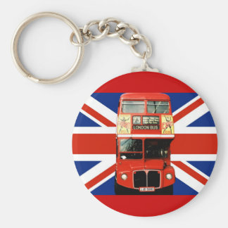 Keyring with Bus and British Flag Basic Round Button Key Ring