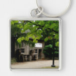 Keyring-Wooden House Silver-Colored Square Key Ring