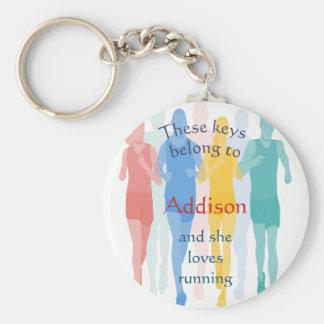 Keys Belong to Custom Name Loves Running Key Ring