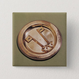 Keys of Ghent on a plate 15 Cm Square Badge