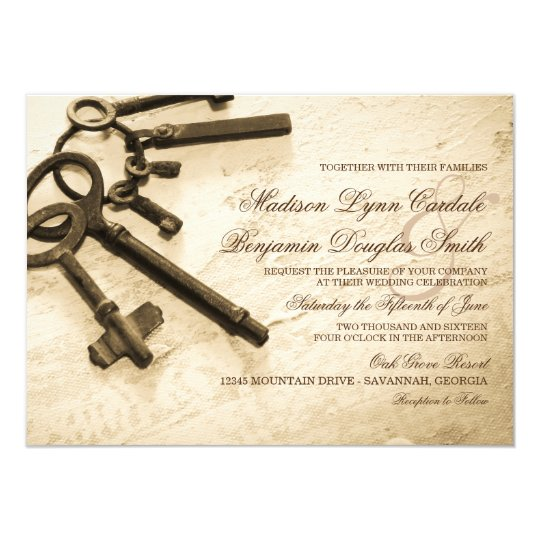 Keys to Her Heart Vintage Wedding Invitations