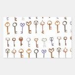 Keys vintage pattern rectangular sticker