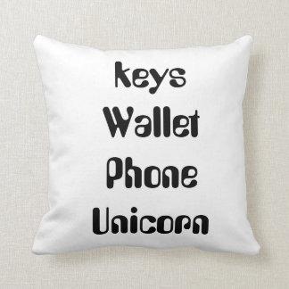 keys wallet phone unicorn pillow