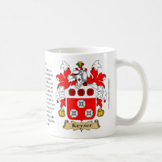 Keyser, the Origin, the Meaning and the Crest Basic White Mug