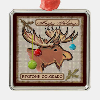 Keystone Colorado moose art Christmas ornament