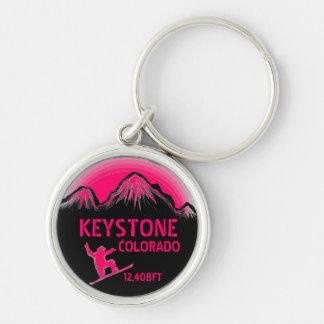 Keystone Colorado pink snowboard art keychain