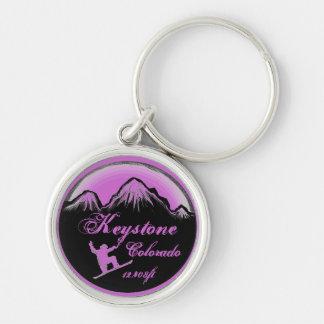 Keystone Colorado purple snowboard art keychain