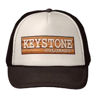 Keystone Colorado wooden log sign Mesh Hat