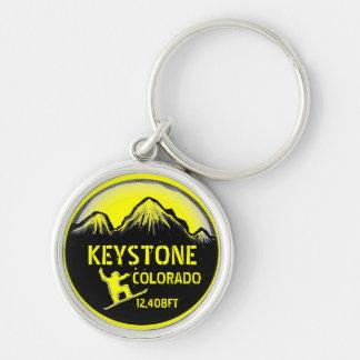 Keystone Colorado yellow snowboard art keychain