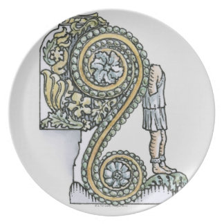 Keystone decoration from ancient Roman Arch of Dinner Plate