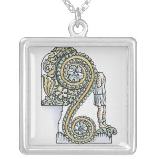 Keystone decoration from ancient Roman Arch of Silver Plated Necklace