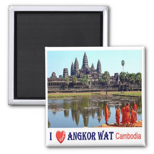 KH - Cambodia - Angkor Wat - Buddhist monks-I Love Square Magnet