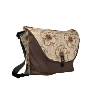 Khaki and Brown Hibiscus Flower Courier Bags