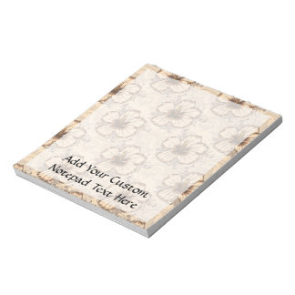 Khaki and Brown Hibiscus Flower Notepad