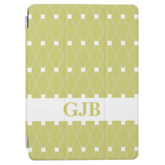 Khaki Argyle Lattice with monogram iPad Air Cover