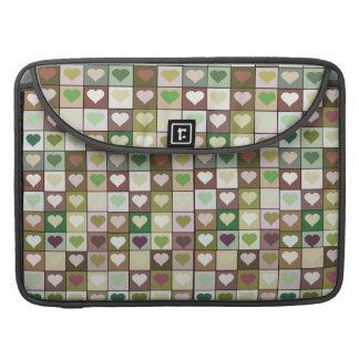 Khaki Army Print Heart Squares Macbook Pro case