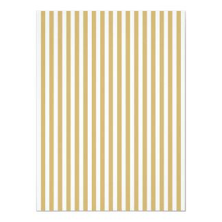 Khaki Beige and White Cabana Stripes 17 Cm X 22 Cm Invitation Card