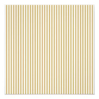 Khaki Beige and White Cabana Stripes 13 Cm X 13 Cm Square Invitation Card