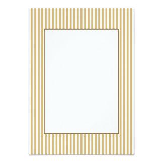 Khaki Beige and White Cabana Stripes 13 Cm X 18 Cm Invitation Card