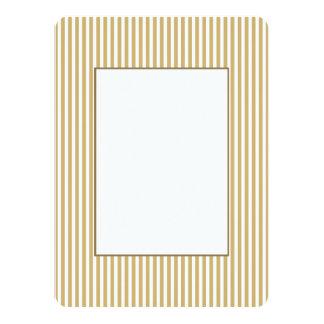Khaki Beige and White Cabana Stripes 14 Cm X 19 Cm Invitation Card
