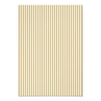 Khaki Beige and White Cabana Stripes 9 Cm X 13 Cm Invitation Card