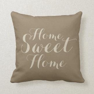 Khaki beige taupe home sweet home throw pillow