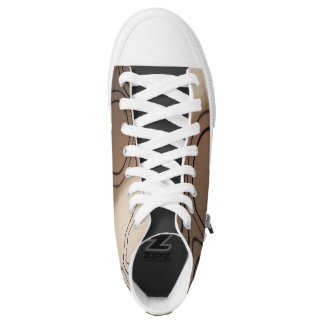 KHAKI CIRCLES- HIGH TOP PRINTED SHOES