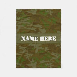 Khaki Green Custom Camo Throw Blanket