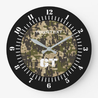 Khaki Green Digital Camouflage Personalized on a Large Clock
