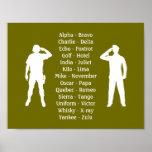 Khaki Green Military Phonetic Alphabet Soldier Poster