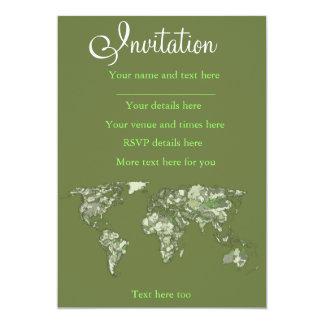Khaki green world map 13 cm x 18 cm invitation card