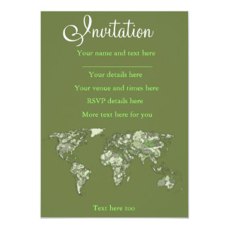 Khaki green world map card