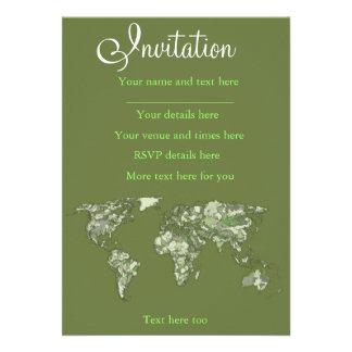Khaki green world map custom invitation