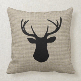Khaki Linen Look Deer Silhouette Pillow