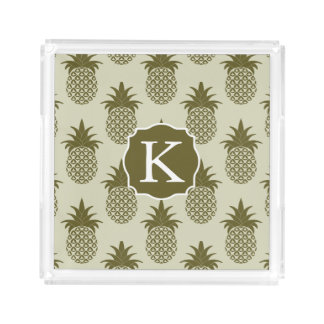 Khaki Pineapple Pattern | Add Your Initial Acrylic Tray