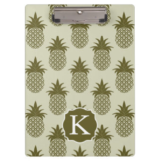 Khaki Pineapple Pattern | Add Your Initial Clipboard